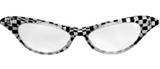 Travel back with these 50's Checkered glasses - Black and White with clear lenses