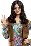 Brown 70's Hippie Wig - Adult