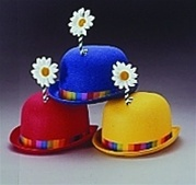 Blue Derby Hat with Flower - Adult