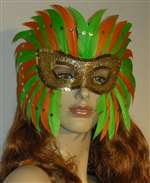 Key Lime Feather Mardi Gras Costume Mask