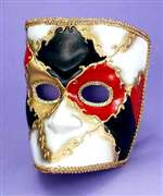 Red Black Gold Mardi Gras Adult Mask