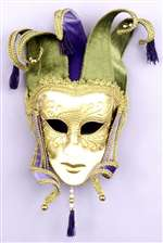 Green and Purple Jester Masquerade Adult Mask