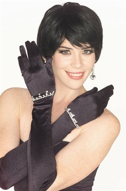 Adult Size Long Black Satin Gloves with Rhinestones