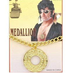 Gold Medallion Necklace - Disco, Pimp, Elvis