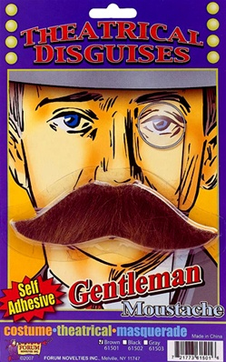 Theatrical Gentleman Moustache - Brown