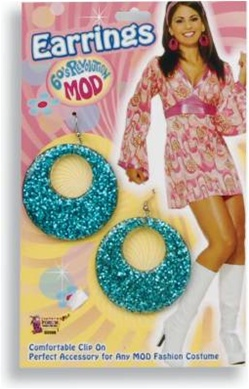 60's Revolution Glitter Mod Earrings - Turquoise