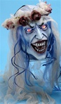Hanging Bride Head with Light Up Eyes - Haunted House Accessory