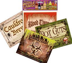 Package of 8 Scary Bottle Labels