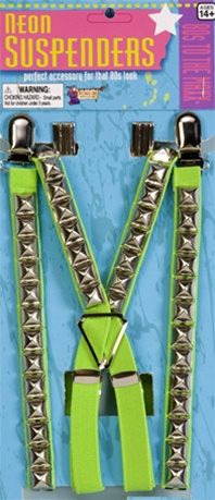 80's Green Studded Suspenders Accessory