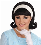 Black 1950's Flip Wig with Headband