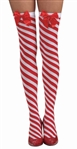 Candy Cane Striped Thigh High Stockings - Red and White