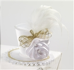 Mini Top Hat With Rose - White