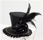 Mini Top Hat With Rose - Black