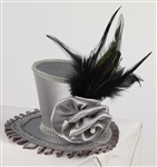 Mini Top Hat With Rose - Gray