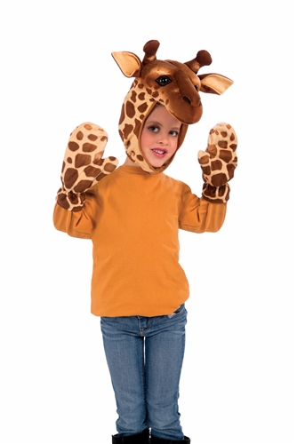 Child Giraffe Hood and Gloves Kit