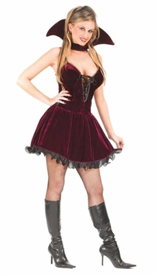 Sexy Adult Plum Velour Vampiress Costume