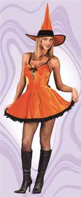 Sexy Velour Pumpkin Witch Adult Costume
