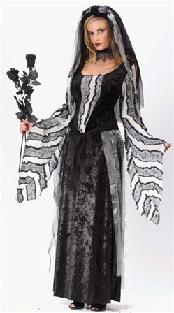 Womens Black Rose Ghost Costume