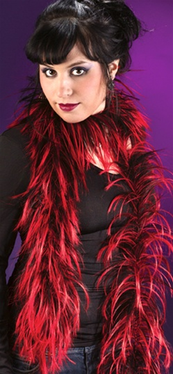 Red and Black Gothic Boa - Accessory