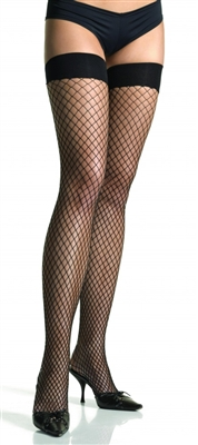 Black Industrial Net Thigh High Stockings
