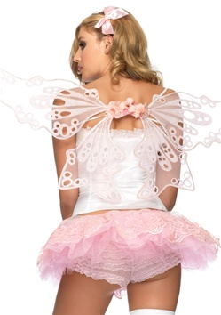 Pink Glitter Flower Fairy Wings