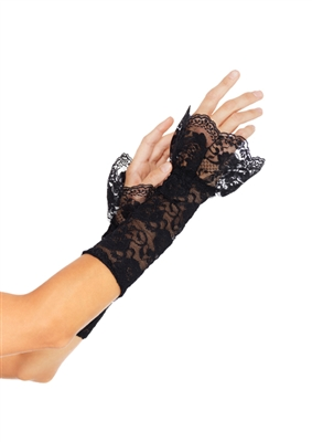 Black Lace Gauntlet Gloves