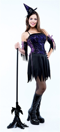 Purple Lace Teen Witch Costume