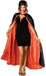 Long Red and Black Adult Satin Cape