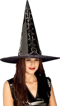 Black Vinyl Witch Hat - Adult