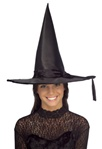 Adult Black Satin Witch Hat