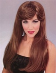 Long Brown Glamour Costume Adult Wig