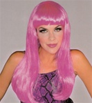 Long Hot Pink Glamour Costume Adult Wig