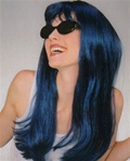 Long Dark Blue Glamour Costume Adult Wig