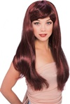 Long Dark Red Glamour Costume Adult Wig