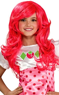 Girl's Pink Strawberry Shortcake Wig