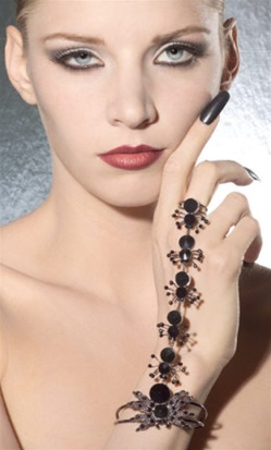 Black Spider Bracelet with Ring - Accessory