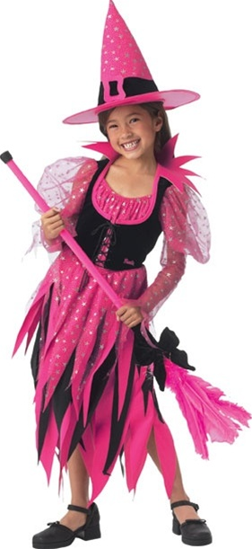 Girls pink witch costume