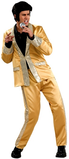 Adult Deluxe Gold Satin Elvis Costume