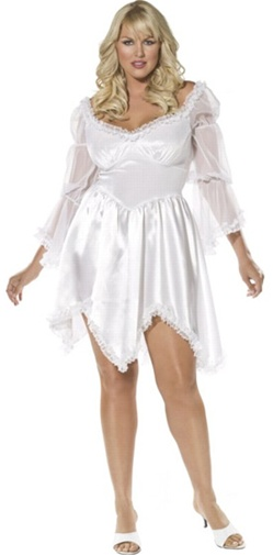 Plus Size Short Sleeved White Dress Costume - Adult