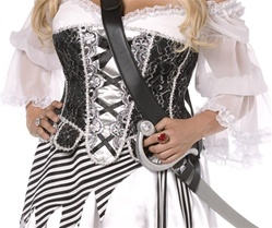 Plus Size Black and Silver Sparkle Corset - Costume Accessory