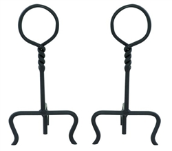 UniFlame A-1124 Black Wrought Iron Ring Swirl Black Andirons