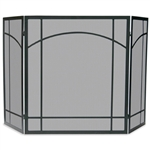 Uniflame 3 Fold Black Wrought Iron Screen with Mission Design