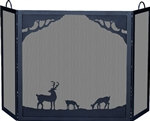 UniFlame S-1333 Deluxe 3 Panel Black Wrought Iron Screen with Deer in Forest Scene
