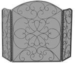 UniFlame S-1600 3 Fold Bronze Finish Wrought Iron Screen with Ornate Scroll Desgn