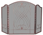 UniFlame S-1607 3 Fold Venetian Bronze Finish Screen with Loop Design
