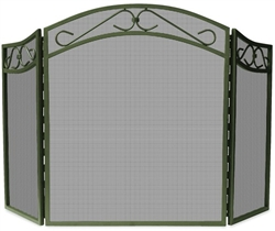 UniFlame S-1638 3 Fold Bronze Finish Wrought Iron Screen with Decorative Scroll