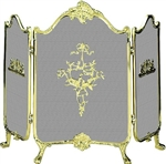 UniFlame S-9099 3 Fold Fully Cast Solid Brass Screen with Ornate Design