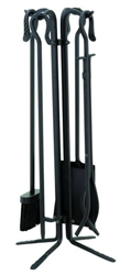 UniFlame 5pc Black Wrought Iron Fireset - Crook Handles