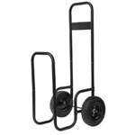 UniFlame Large Black Wrought Iron Log Rack with Wheels