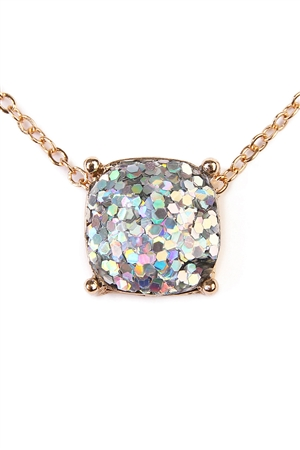 S7-4-2-A16355ABG-AB GOLD CUSHION CUT GLITTER NECKLACE/6PCS